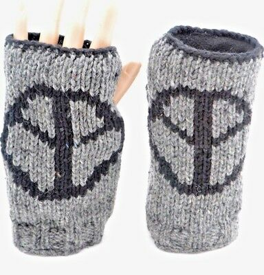 100% Wool Nepalese Handmade Peace Sign Winter Gloves Work Mitten [Grey]]