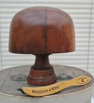 Charming Vintage Wooden Hat Block/Form with Stand, 61cm, Millinery/Shop Display