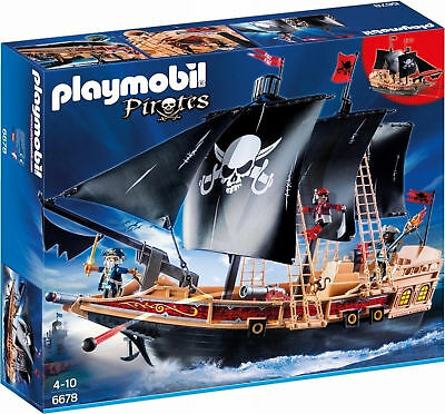 Playmobil Pirates 6678 Floating Pirate Raiders Ship with Cannons