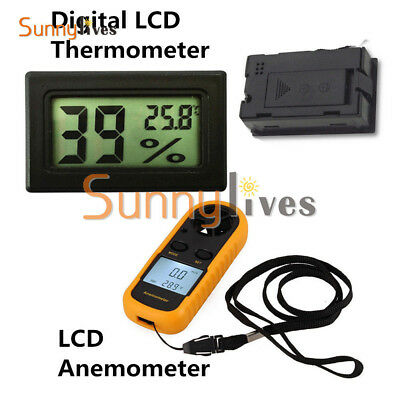 Digital LCD Wind Speed Gauge Mini Air Velocity Meter Anemometer NTC Thermometer