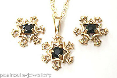 9ct Gold Sapphire Pendant necklace and Earring Set Made in UK Gift Boxed
