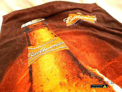 """BUDWEISER BEACH TOWEL-COPA BRAND-54""""x30""""(APPROX)-USED-SLIGHTLY DISTRESSED-AS IS!"""