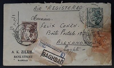 RARE 1925 Iraq Registd Cover ties 3 stamps canc Baghdad to Alexandria Egypt