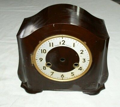 Empty Smiths ENFIELD Bakelite Mantel Clock Case & Face, Spares/Repair