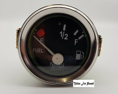 "FUEL LEVEL METER GUAGE 52mm 2"" CHROME DIAL CLOCK CAV VAN BOAT BAR E-1/2- F M619"