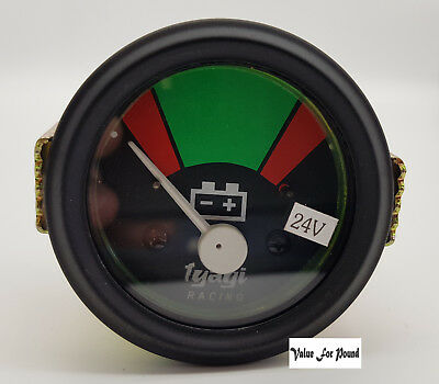 12 VOLT 52MM DIAL RED AND GREEN BAR BATTERY METER GUAGE BLACK DIAL 12v ( M617-A)