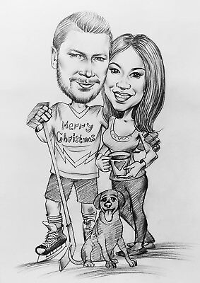 Personalized Custom Made Cartoon Pencil Caricature Portrait From Your Photo