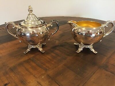 W.M. Williams antique silver plated sugar bowl and cream pitcher set