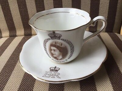 1953 Queen Elizabeth Coronation Bone China Cup And Saucer - Taylor and Kent