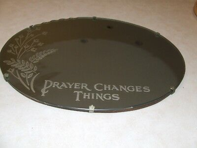 Vintage Oval Art Deco Wall Mirror With Flowers - Prayer Changes Things