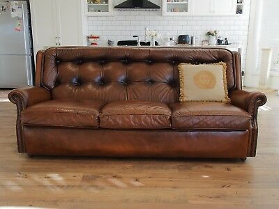 Vintage Moran Leather Button Back Chesterfield 3 Seater Sofa-Lounge-Chair