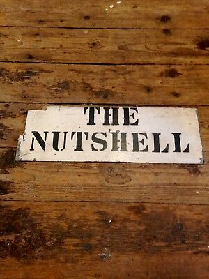 Vintage Reclaimed Steel Stencil Painted House Name Sign The Nutshell Retro 60's