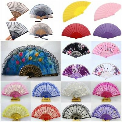 Chinese Hand Held Fan Bamboo Floral Silk Flower Wedding Party Folding Fan Decor