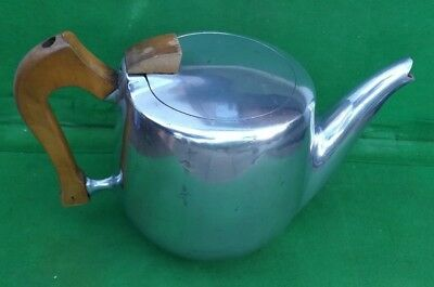 Vintage 1960s Picquot Ware TB Tea Pot with wooden handles