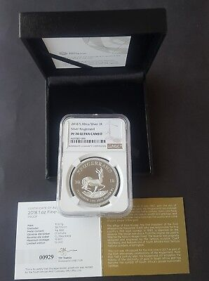 2018 Silver Proof Krugerrand Ngc Pf70 Ultra Cameo (Perfect Grade) Sn 929