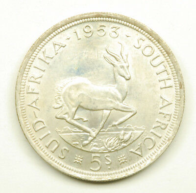 1953 South Africa 5 Shilling Coin; 50% Silver