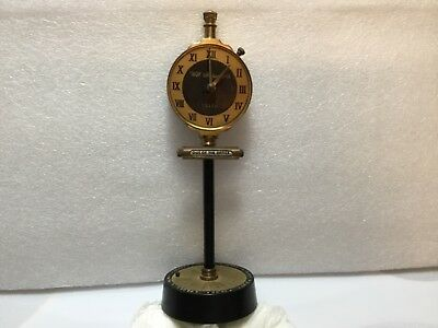 "Unique Swank Brass Office Desktop ""Assistant"" & Lighter Rare Clock Novelty Item"