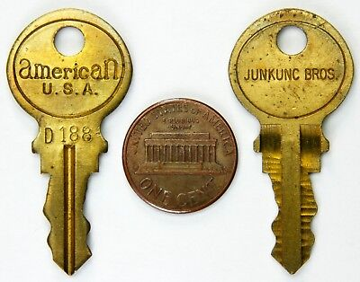 lot of 2 vintage junkunc bros american keys no d188 vending