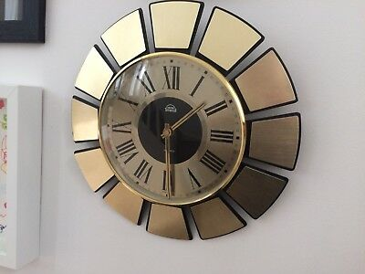 Beautiful Vintage Retro Smiths Timecal Sunburst Wall Clock 1960s