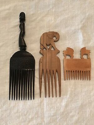 vintage wood African Combs, Set Of 3