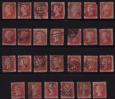 GB QV 1d REDS (27) 1858. Various plate numbers - nice lot