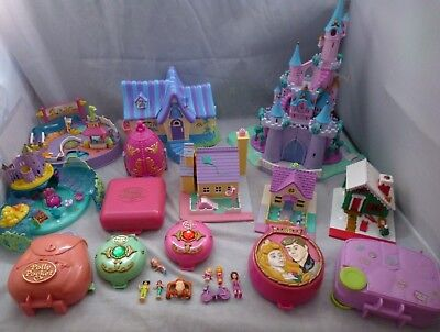Vintage Polly Pocket Bundle Disney Castle Sleeping Beauty Ariel Jewell Compacts