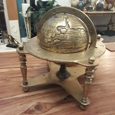 Vintage heavy brass earth globe with old world, astrology and planet markings