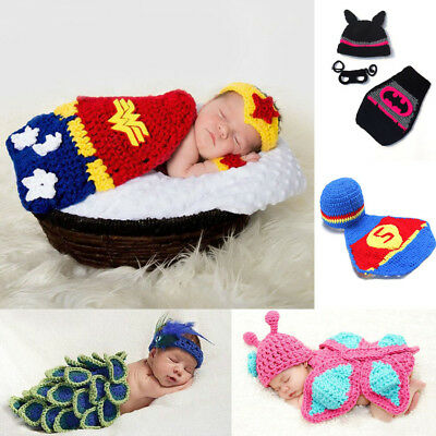 New Baby Boy Girl Crochet Beanie Costume Outfit Set Hat Photography Props 0-6M