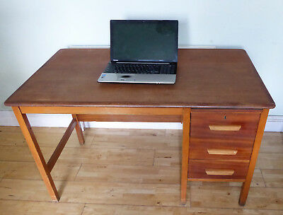 Vintage Abbess wooden desk, 3 drawers, perfect for home office