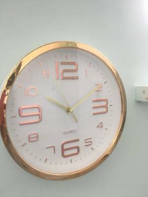 Vintage Retro Modern Style~Rose Gold / Copper & White  Round Wall Clock~25cm