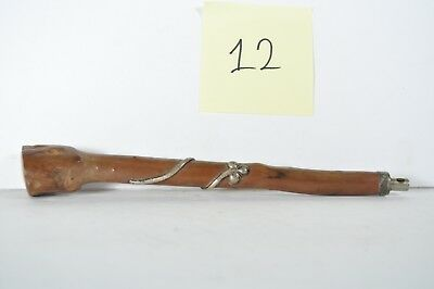 ANTIQUE Parasol Umbrella Cane HANDLE WOOD WITH STERLING SILVER OVERLAY #12