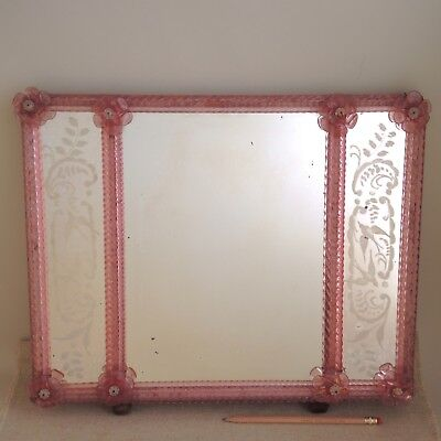 Vintage Murano Glass Frame Mirror Etched Birds Flowers Venetian Italy Lotusland