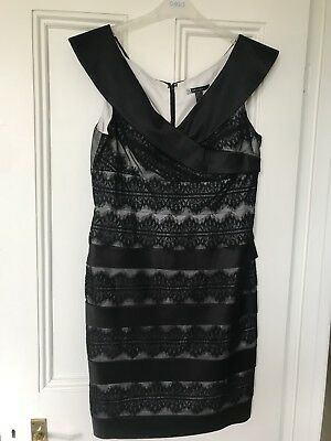 Black satin and lace cocktail dress, plunge neckline, size 14. New without tags