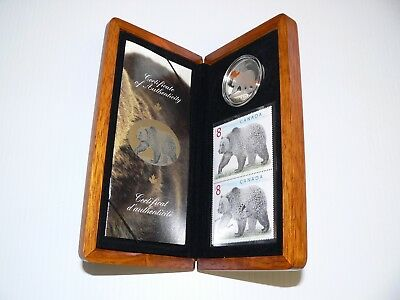 2004 Canada The Great Grizzly Bear Eight Dollar $8 Ltd Edition Stamp & Coin Set