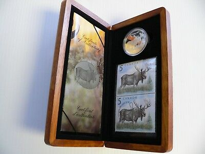 2004 Canada The Majestic Moose $5 Silver Proof Coin and Stamp Set