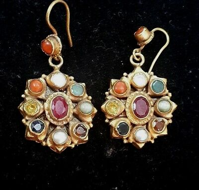 Vintage solid 22K Gold Intricate Angkor Natural Ruby Studded Sun Shape Earrings