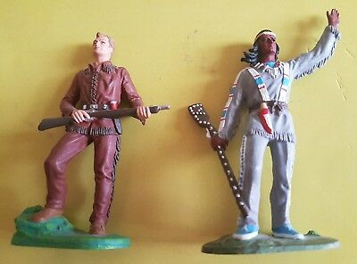 2 alte Elastolin Preiser Karl May Kunststoff Figuren,Wildwest Indianer zu 7 cm