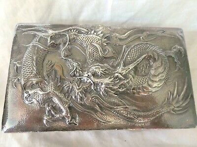 Antique Chinese Silver Repoussé Dragon Cigarette Box, Playing Cards Box