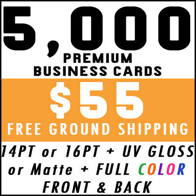 5000 Full Color 2-Sided Business Cards Printing - Free Shipping UV Gloss Matte