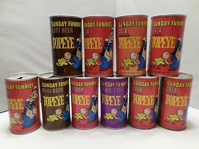 Rare 1969 Lot 10 Sunday Funnies Popeye Sailor Man Vtg Comic Strip Soda Pop Can