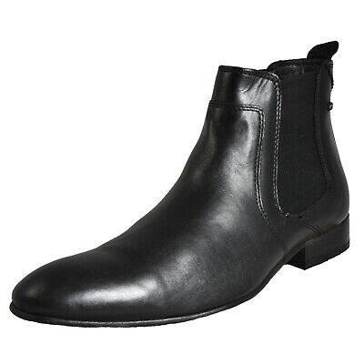 Base London Forbes Leather Men's Classic Formal Dress Chelsea Boots Black