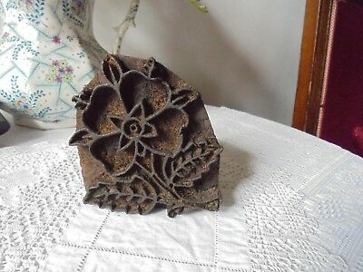 Vintage/antique Printing Block - Flower Design - Primitive