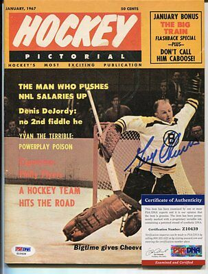 BOSTON BRUINS 1967 hockey magazine GERRY CHEEVERS No Mask signed PSA DNA D705