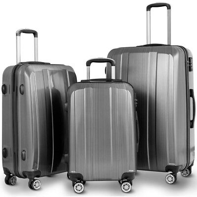 "20"" 24"" 28"" 3Pcs Set Travel Luggage Baggage Trolley Suitcase Case w/ TSA Lock"