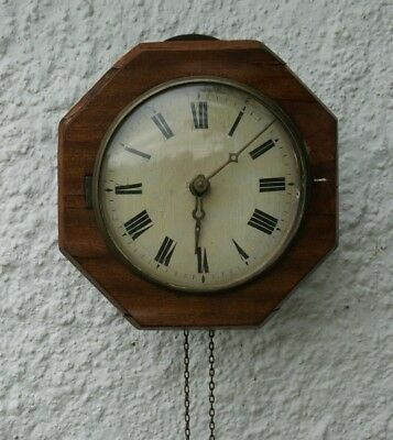 Antique Mahogany Cased Weight/Chain Driven POSTMAN'S Wall Clock, Spares/Repair