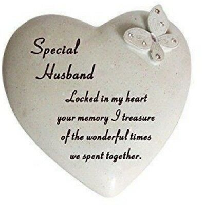Special Husband Butterfly Gem Heart Graveside Memorial Plaque Grave Ornament New