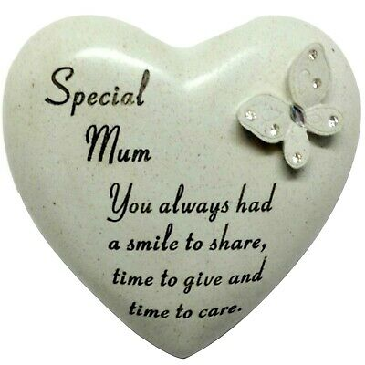 Special Mum Butterfly Gem Heart Graveside Memorial Ornament Plaque With Verse