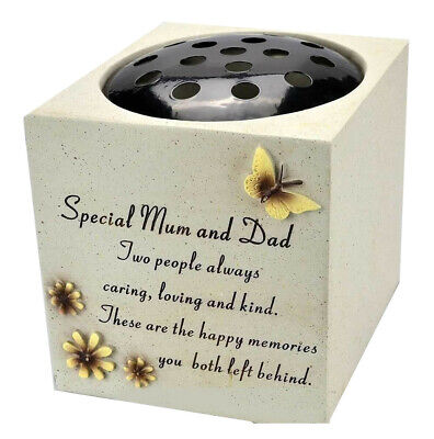 Special Mum And Dad Graveside Memorial Flower Pot Verse Grave Vase Loved New
