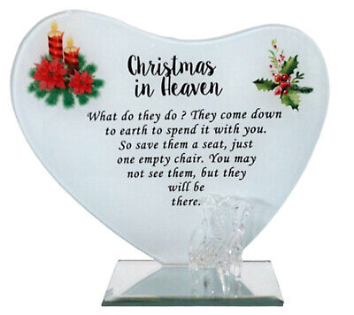 Christmas In Heaven Memorial Ornaments Glass Plaque With Chair Funeral Grave New