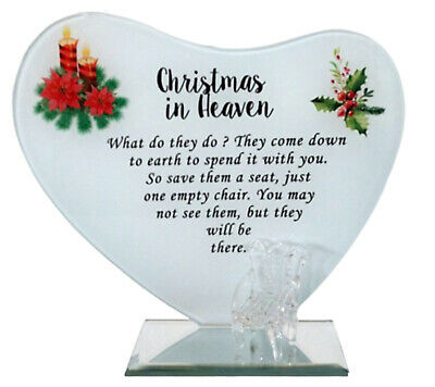 Memorial Ornaments Christmas In Heaven Glass Plaque With Chair Funeral Grave New